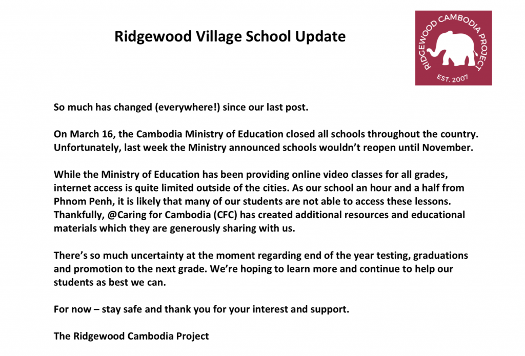 Ridgewood Cambodia Project May Update